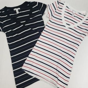 Ambiance apparel stripped vneck tshirts set of 2